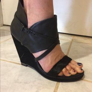 All Saints black leather pony hair wedge sandals